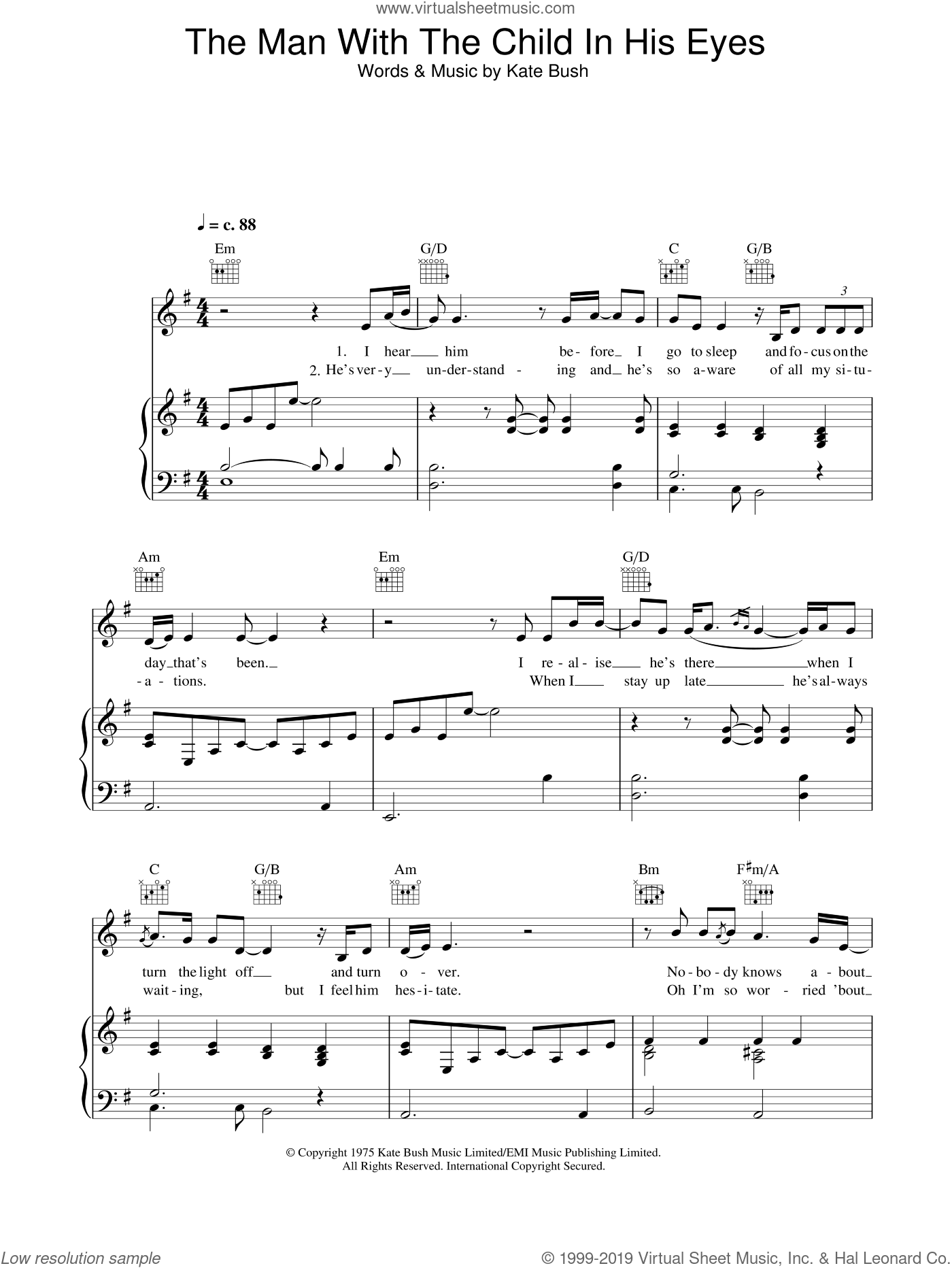 The Man With The Child In His Eyes sheet music for voice, piano or guitar by Kate Bush. Score Image Preview.