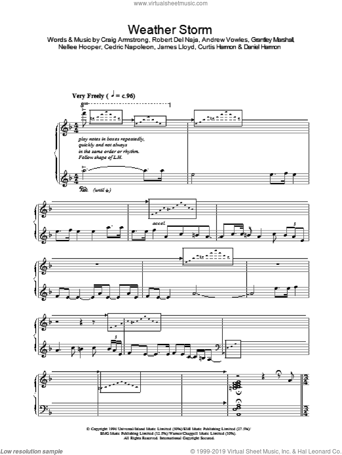 Weather Storm sheet music for piano solo by Craig Armstrong, Andrew Vowles, Cedric Napoleon, Curtis Harmon, Daniel Harmon, Grantley Marshall, James Lloyd, Nellee Hooper and Robert Del Naja, intermediate skill level