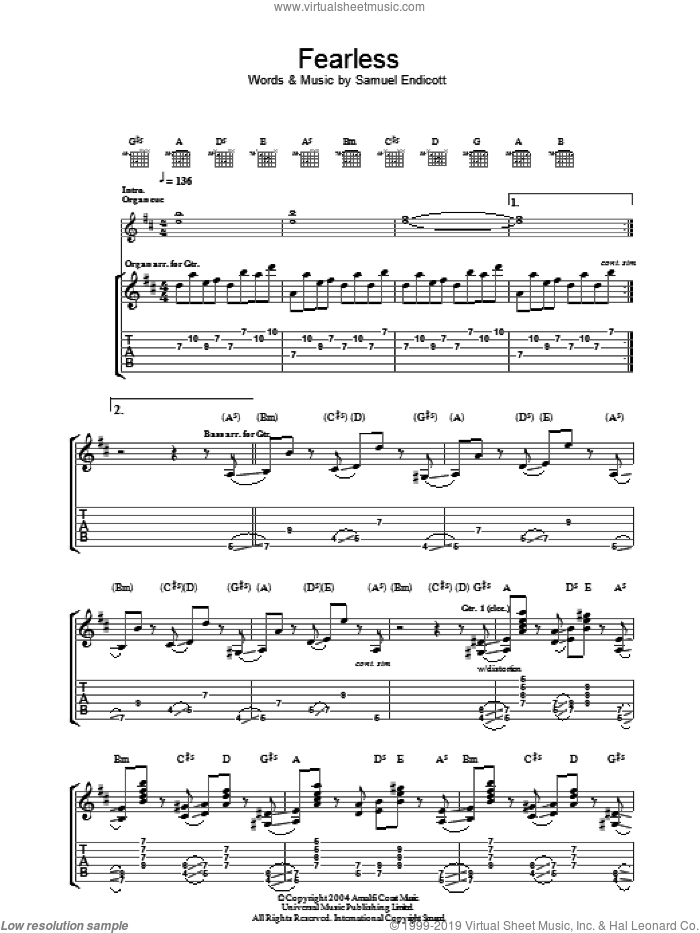Fearless sheet music for guitar (tablature) by The Bravery and Samuel Endicott, intermediate