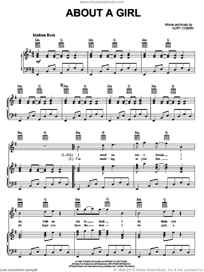 About A Girl sheet music for voice, piano or guitar by Nirvana and Kurt Cobain, intermediate skill level
