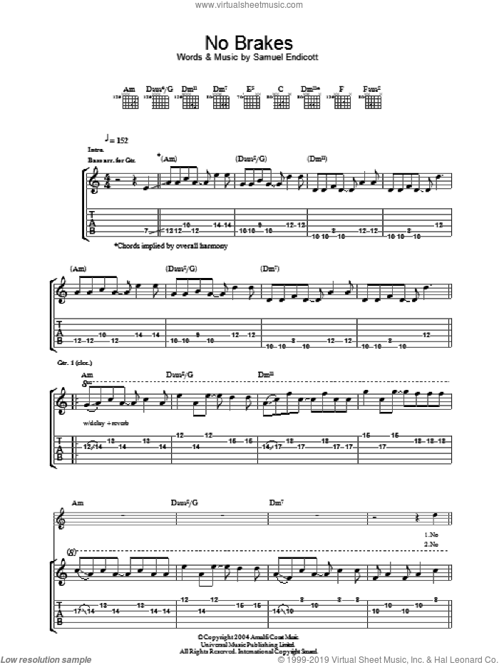 No Brakes sheet music for guitar (tablature) by The Bravery and Samuel Endicott, intermediate. Score Image Preview.