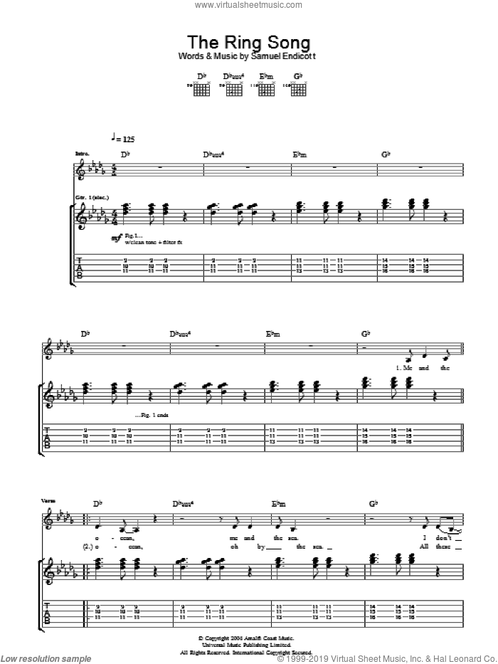 The Ring Song sheet music for guitar (tablature) by The Bravery and Samuel Endicott, intermediate skill level