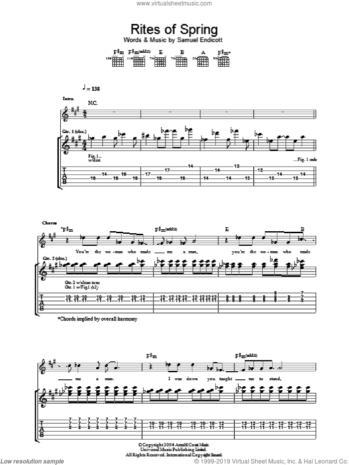 Rites Of Spring sheet music for guitar (tablature) by Samuel Endicott. Score Image Preview.