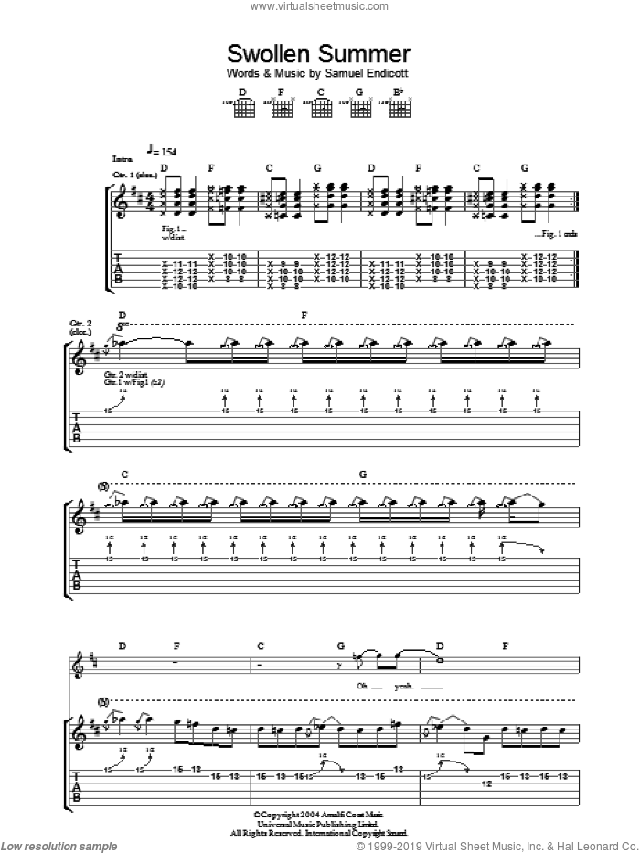 Swollen Summer sheet music for guitar (tablature) by Samuel Endicott