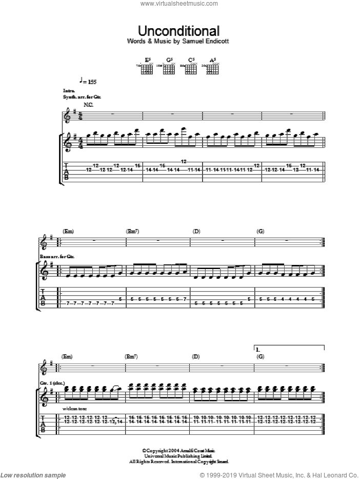 Unconditional sheet music for guitar (tablature) by The Bravery and Samuel Endicott. Score Image Preview.