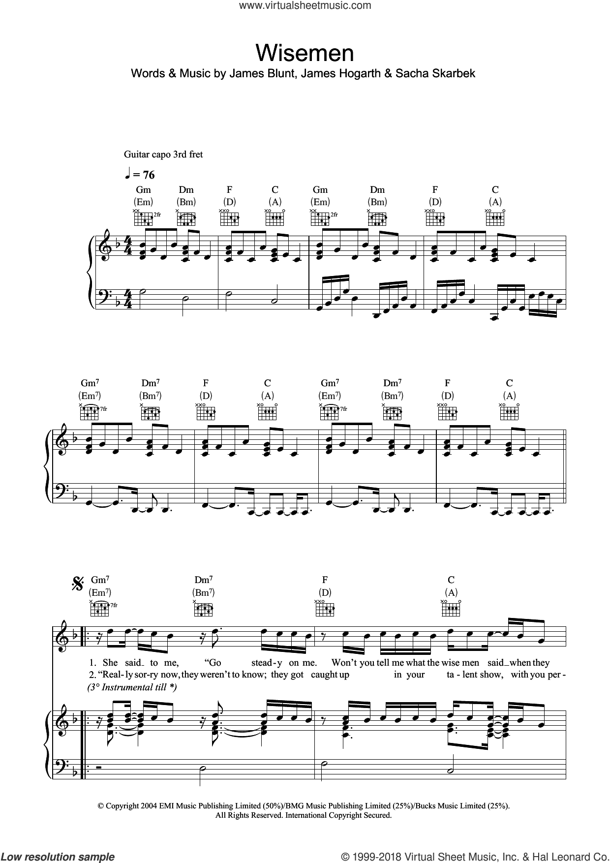 Wisemen sheet music for voice, piano or guitar by James Blunt, James Hogarth and Sacha Skarbek, intermediate skill level