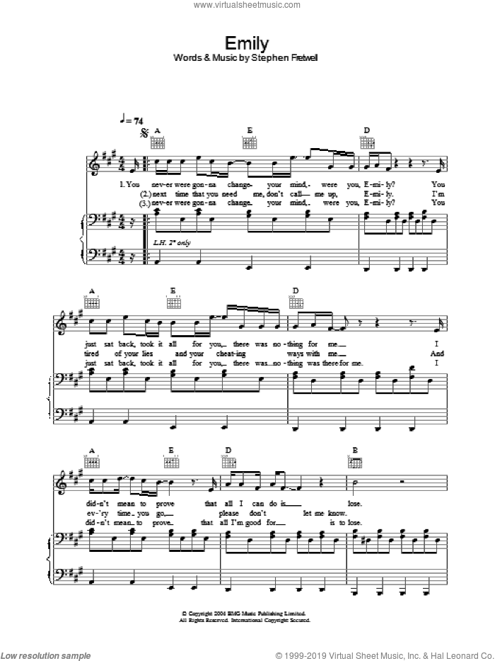 Emily sheet music for voice, piano or guitar by Stephen Fretwell. Score Image Preview.