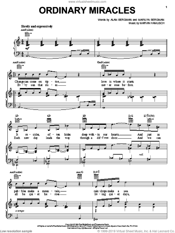 Ordinary Miracles sheet music for voice, piano or guitar by Barbra Streisand, Alan Bergman, Marilyn Bergman and Marvin Hamlisch. Score Image Preview.