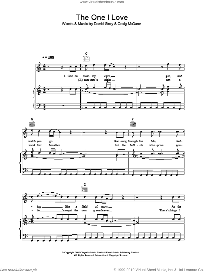 The One I Love sheet music for voice, piano or guitar by David Gray, intermediate. Score Image Preview.