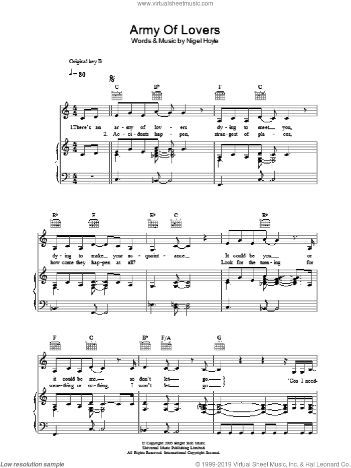 Army Of Lovers sheet music for voice, piano or guitar by Nigel Hoyle. Score Image Preview.
