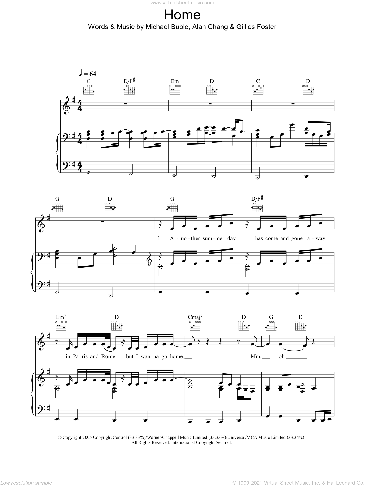 Home sheet music for voice, piano or guitar by Michael Bublé
