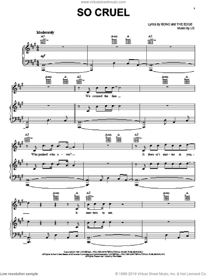 So Cruel sheet music for voice, piano or guitar by U2, Bono and The Edge, intermediate