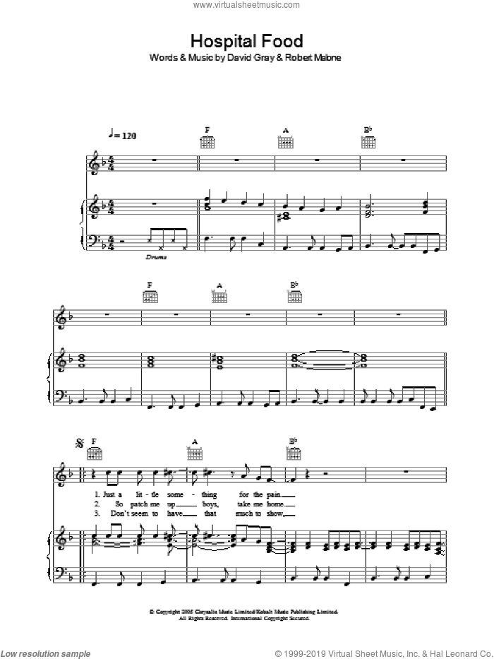 Hospital Food sheet music for voice, piano or guitar by David Gray, intermediate voice, piano or guitar. Score Image Preview.