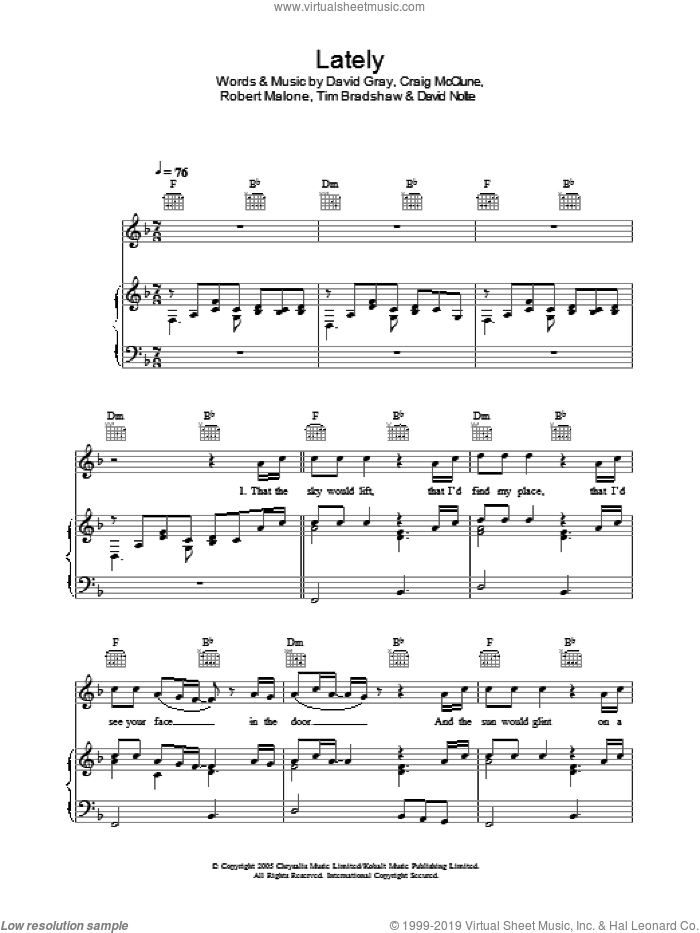 Lately sheet music for voice, piano or guitar by David Gray. Score Image Preview.