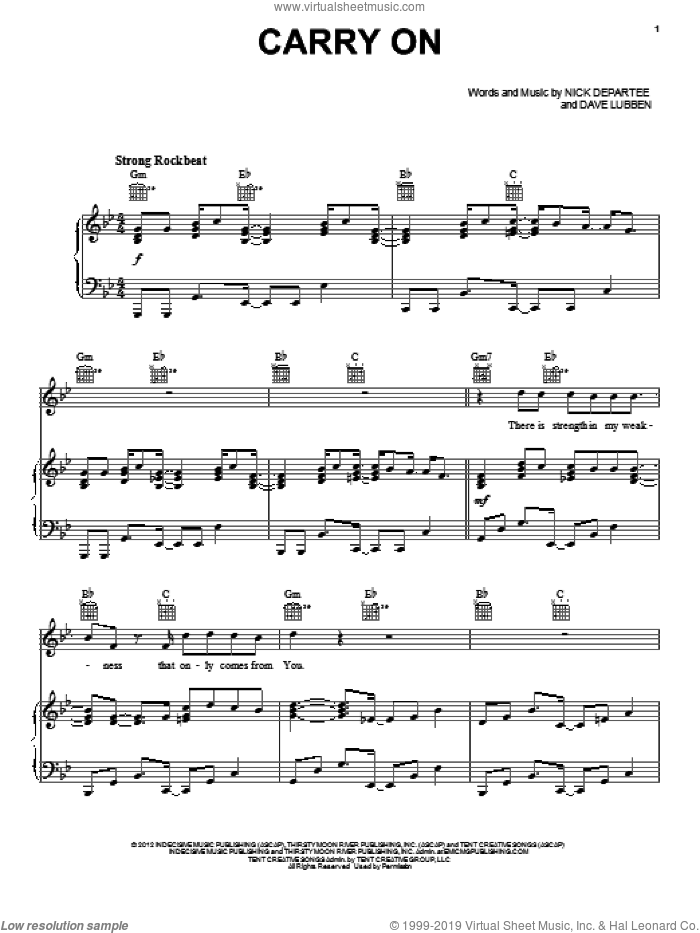 Carry On sheet music for voice, piano or guitar by Kutless, intermediate. Score Image Preview.