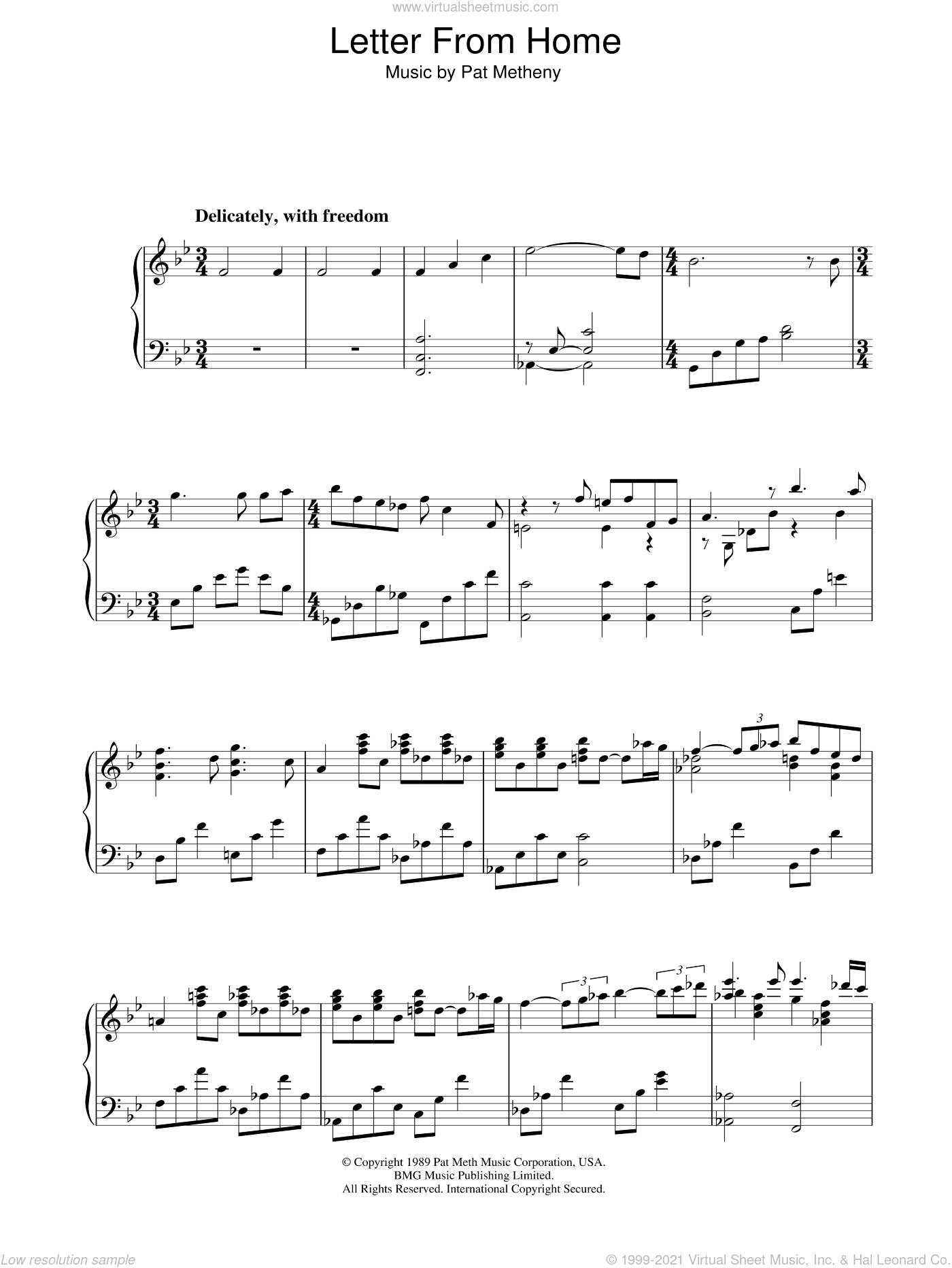 Letter From Home sheet music for piano solo by Pat Metheny. Score Image Preview.