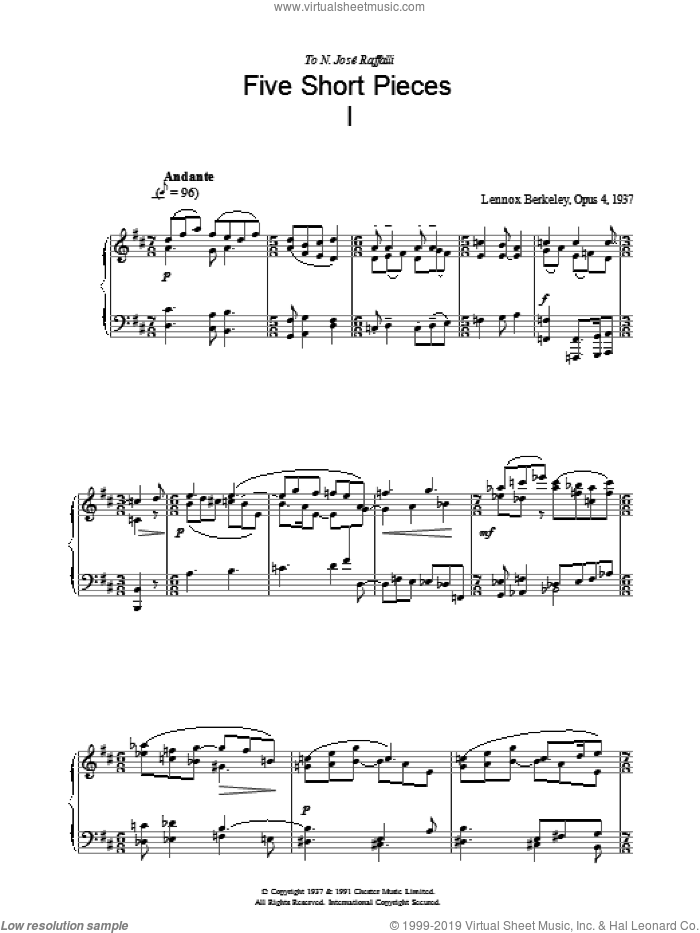 Five Short Pieces, No. 1, Op. 4 sheet music for piano solo by Lennox Berkeley. Score Image Preview.