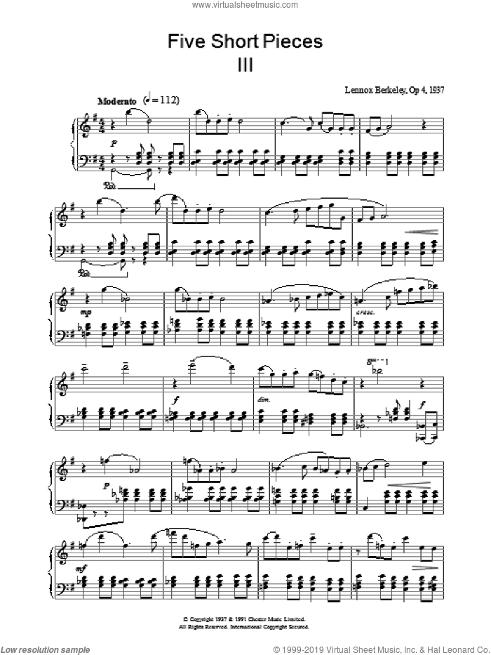 Five Short Pieces, No. 3, Op. 4 sheet music for piano solo by Lennox Berkeley, classical score, intermediate skill level