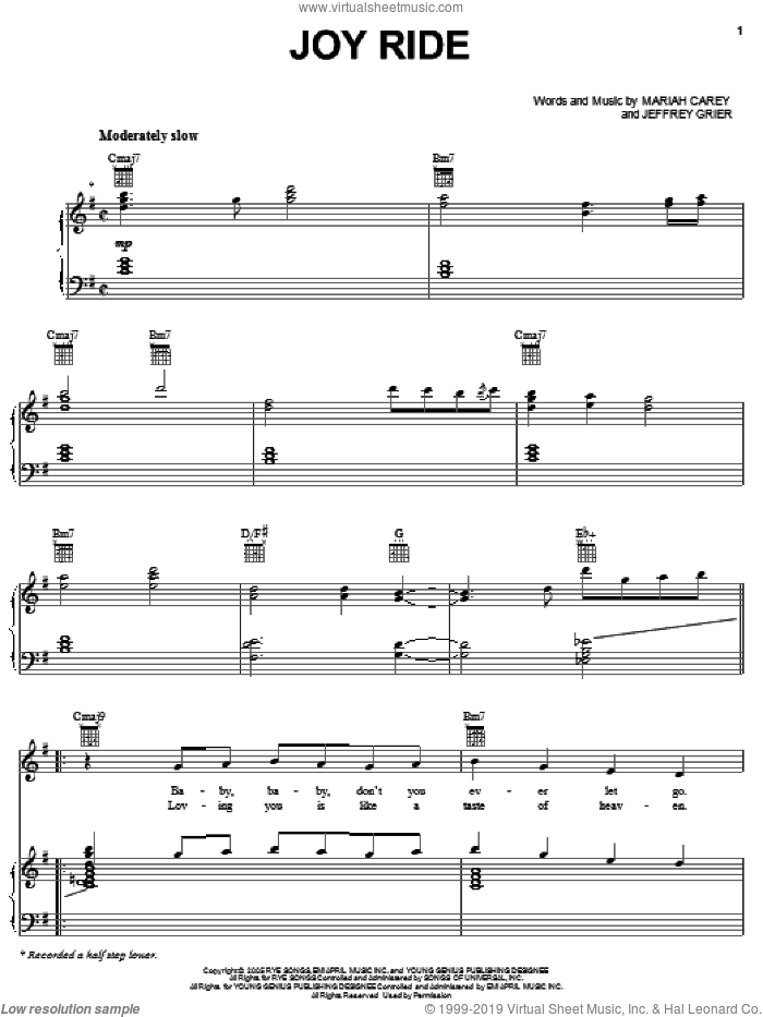 Joy Ride sheet music for voice, piano or guitar by Mariah Carey and Jeffrey Grier, intermediate