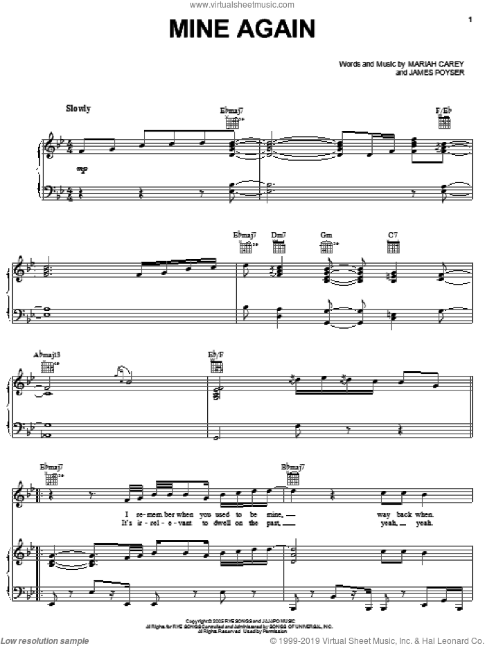 Mine Again sheet music for voice, piano or guitar by Mariah Carey and James Poyser, intermediate