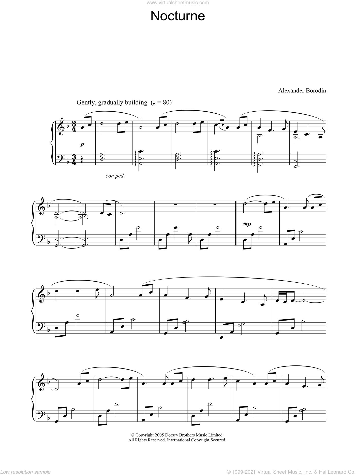 Nocturne sheet music for piano solo by Alexander Borodin, classical score, intermediate skill level