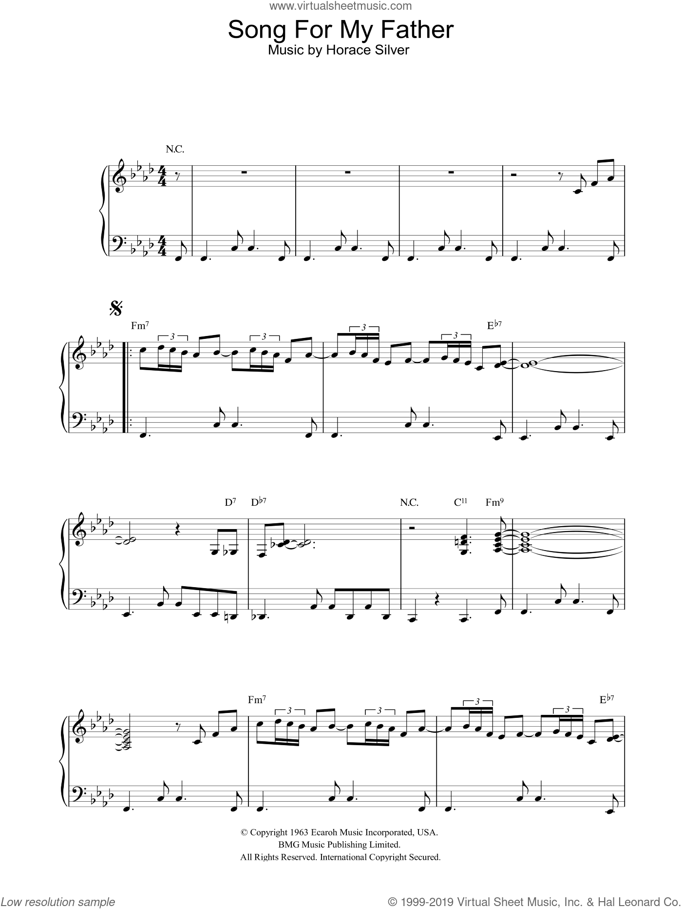 Song For My Father sheet music for piano solo by Horace Silver, intermediate skill level