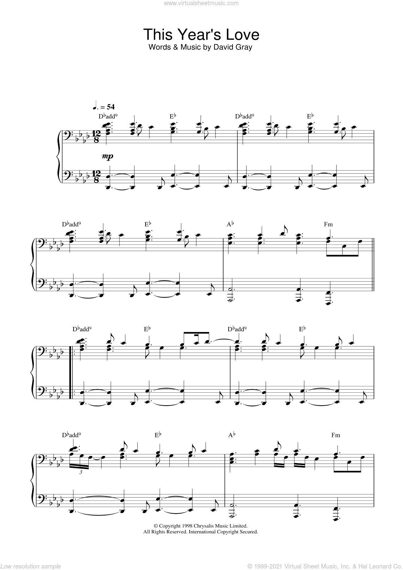 This Year's Love sheet music for piano solo by David Gray. Score Image Preview.