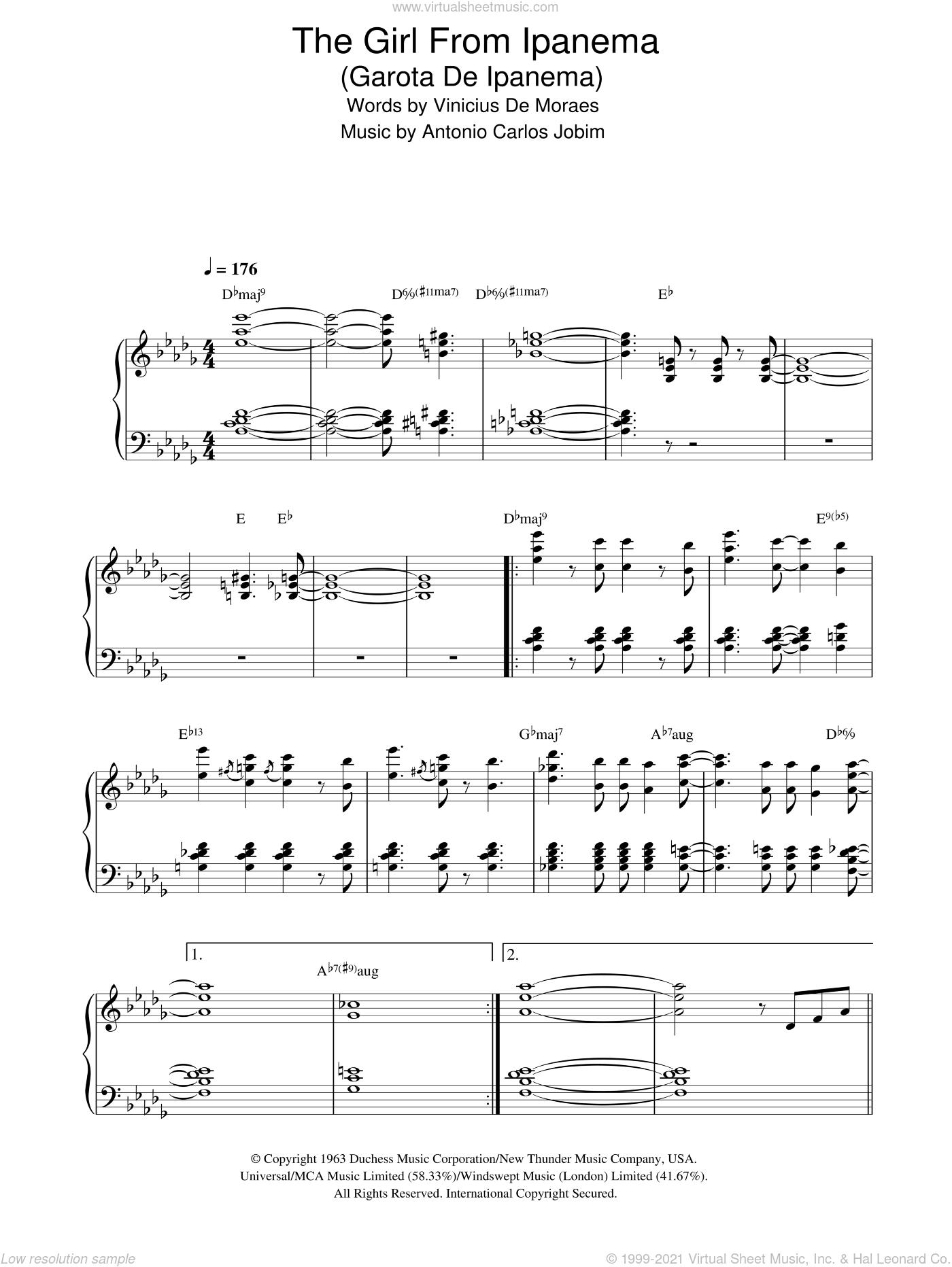 The Girl From Ipanema (Garota De Ipanema) sheet music for piano solo by Antonio Carlos Jobim and Vinicius de Moraes, intermediate skill level