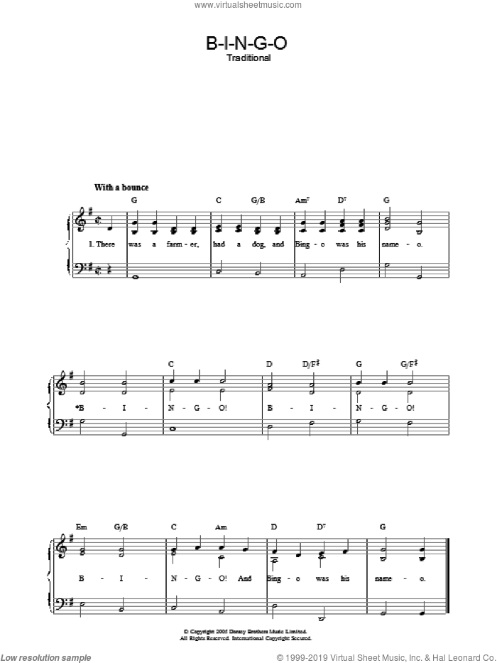 B-I-N-G-O sheet music for voice, piano or guitar, intermediate