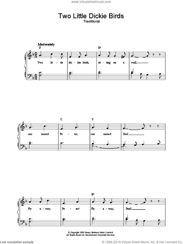 Two Little Dickie Birds sheet music for voice, piano or guitar. Score Image Preview.