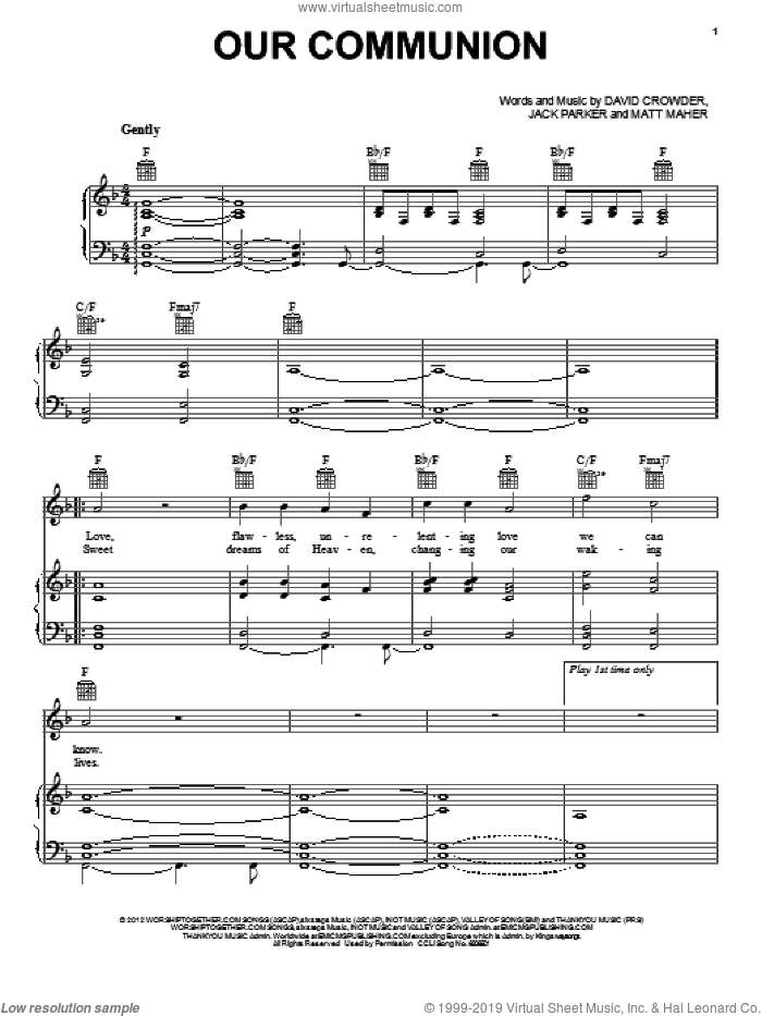 Our Communion sheet music for voice, piano or guitar by David Crowder Band, David Crowder, Jack Parker and Matt Maher, intermediate skill level
