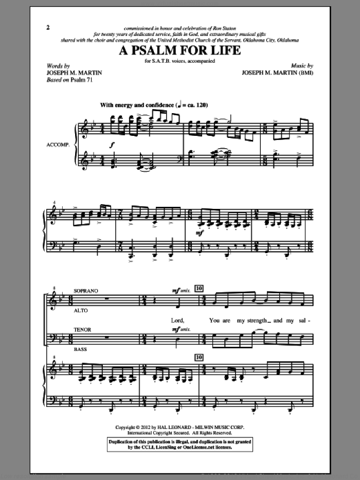 A Psalm For Life sheet music for choir (SATB: soprano, alto, tenor, bass) by Joseph M. Martin, intermediate skill level
