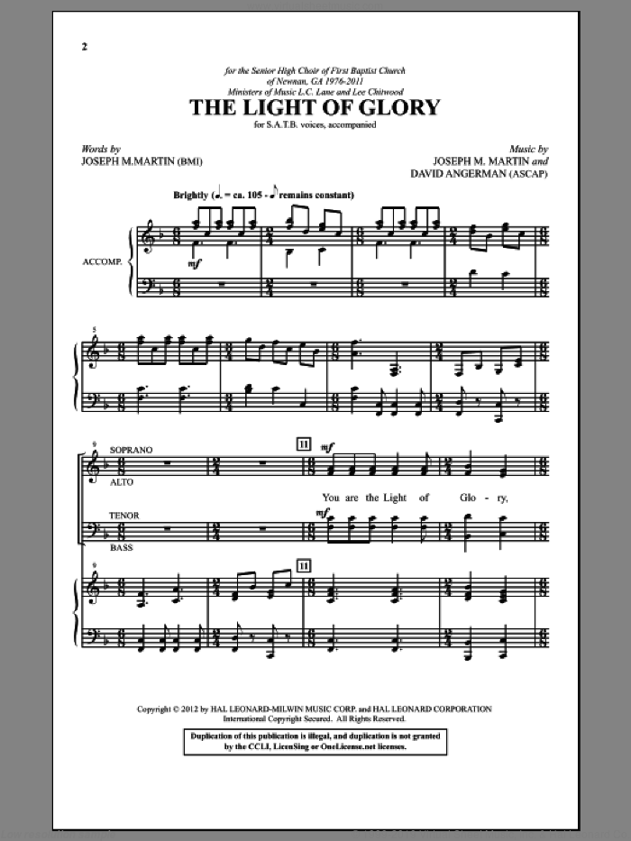 The Light Of Glory sheet music for choir (SATB) by David Angerman and Joseph M. Martin. Score Image Preview.