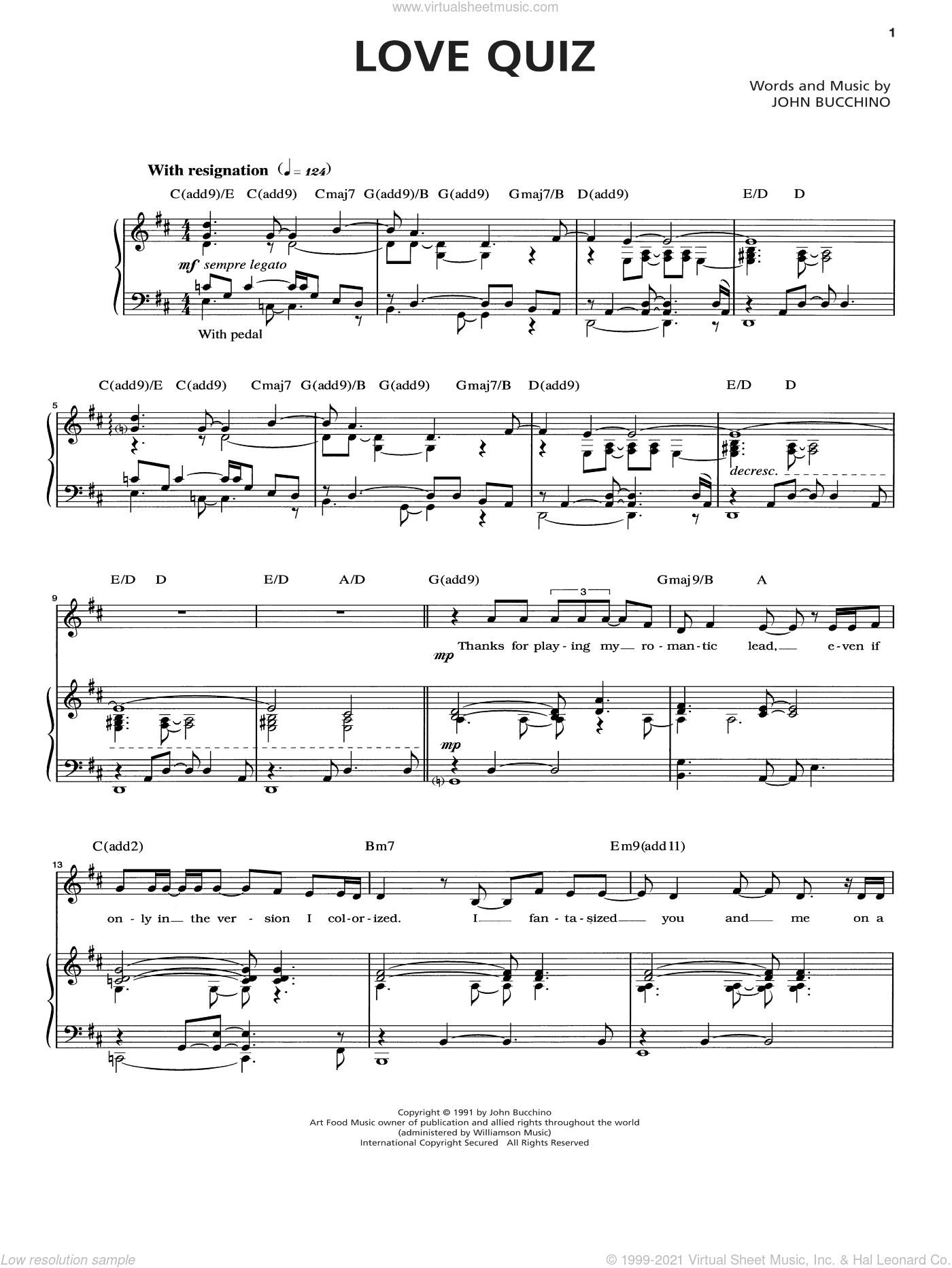 Love Quiz sheet music for voice and piano by John Bucchino. Score Image Preview.