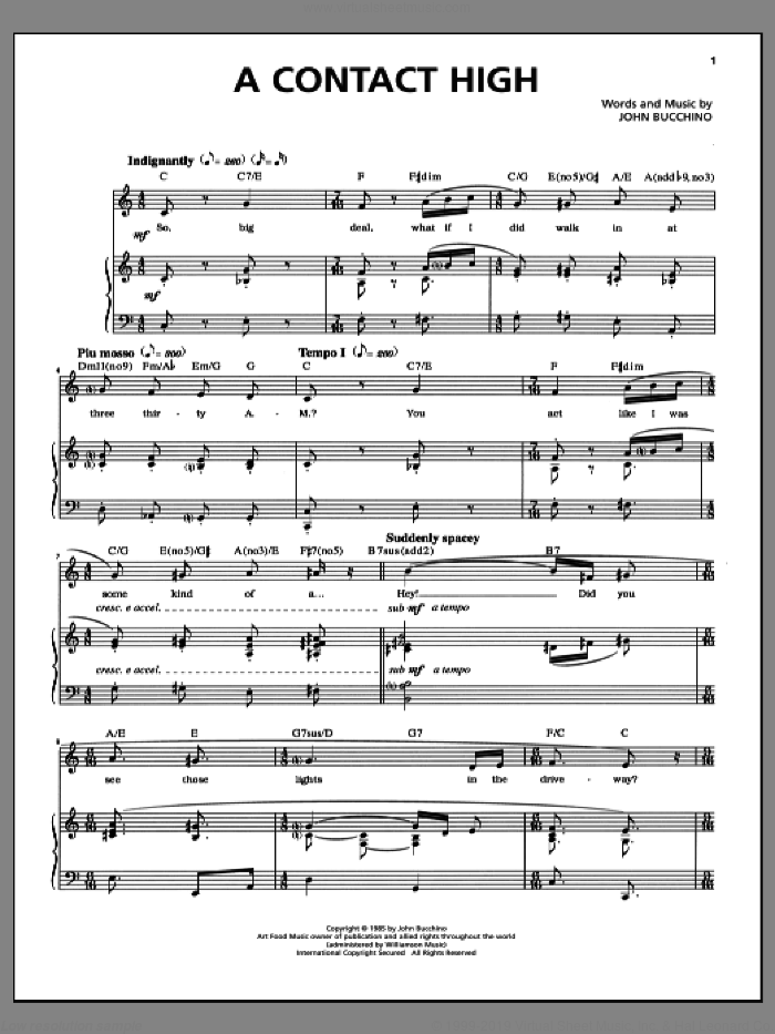 A Contact High sheet music for voice and piano by John Bucchino. Score Image Preview.