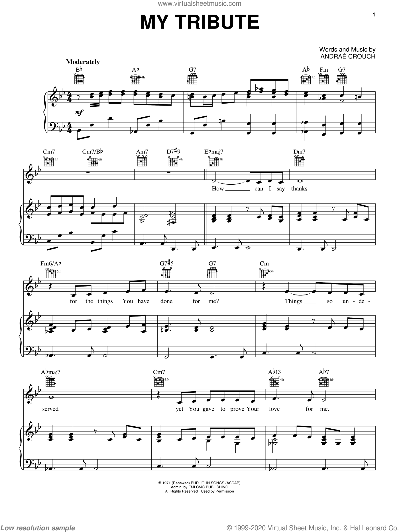 My Tribute sheet music for voice, piano or guitar by Andrae Crouch, intermediate skill level