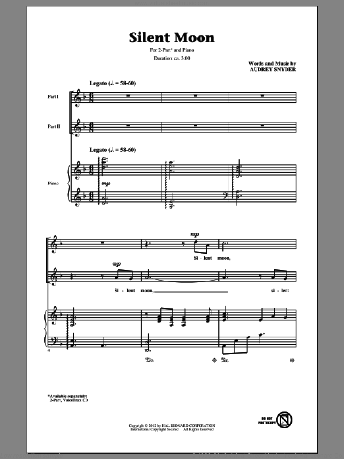Silent Moon sheet music for choir (2-Part) by Audrey Snyder, intermediate duet