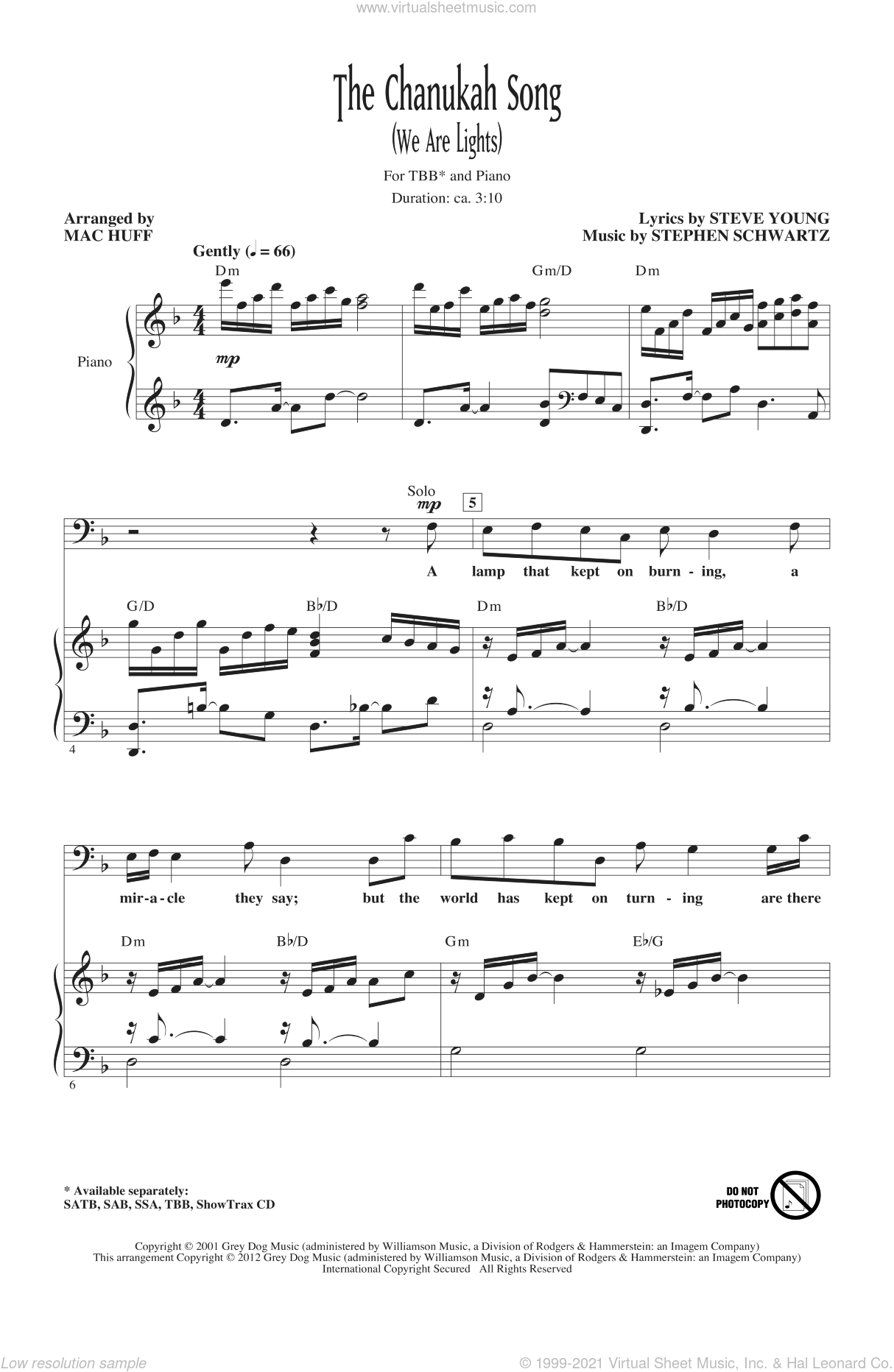 The Chanukah Song (We Are Lights) sheet music for choir (TBB: tenor, bass) by Stephen Schwartz, Steve Young and Mac Huff, intermediate skill level
