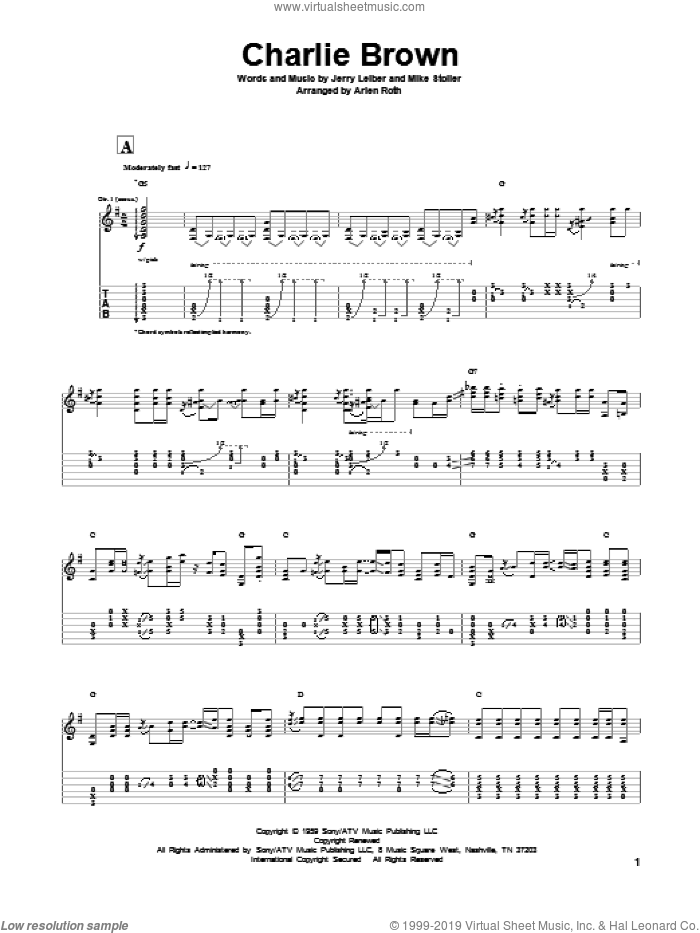 Charlie Brown sheet music for guitar solo by Leiber & Stoller, The Coasters and Mike Stoller, intermediate. Score Image Preview.