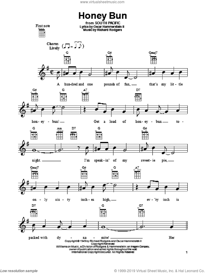 Honey Bun sheet music for ukulele by Rodgers & Hammerstein, South Pacific (Musical), Oscar II Hammerstein and Richard Rodgers, intermediate skill level