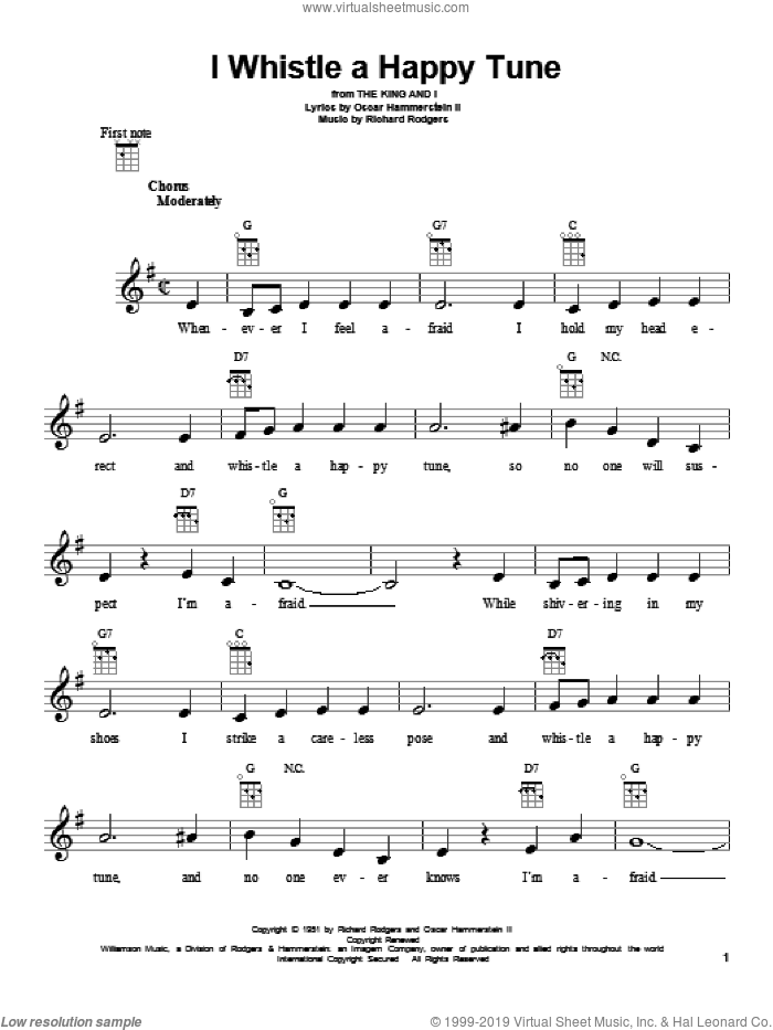 I Whistle A Happy Tune sheet music for ukulele by Rodgers & Hammerstein, The King And I (Musical), Oscar II Hammerstein and Richard Rodgers, intermediate skill level