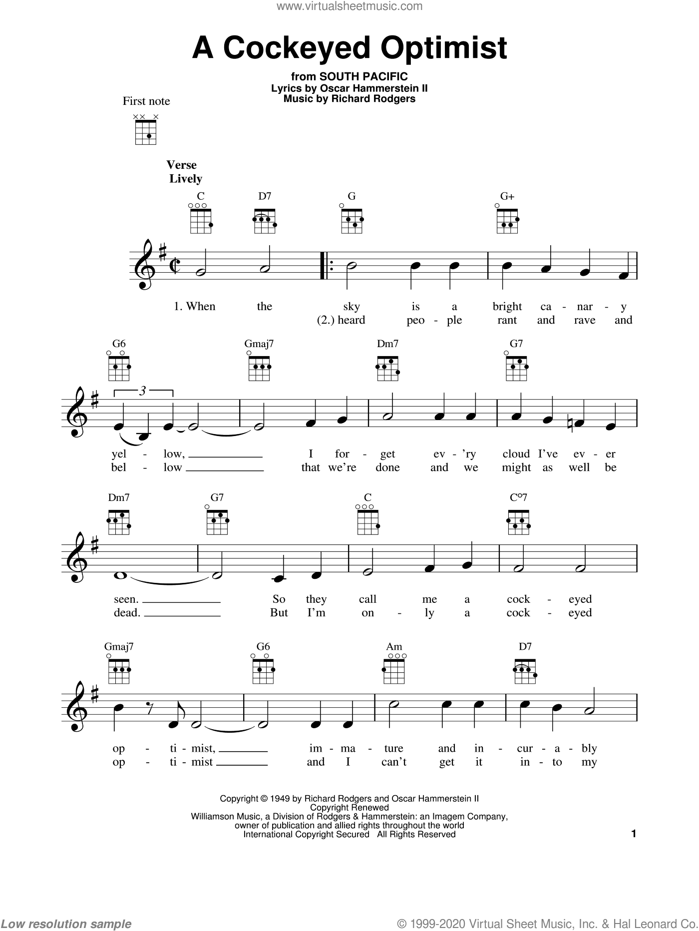 A Cockeyed Optimist sheet music for ukulele by Richard Rodgers