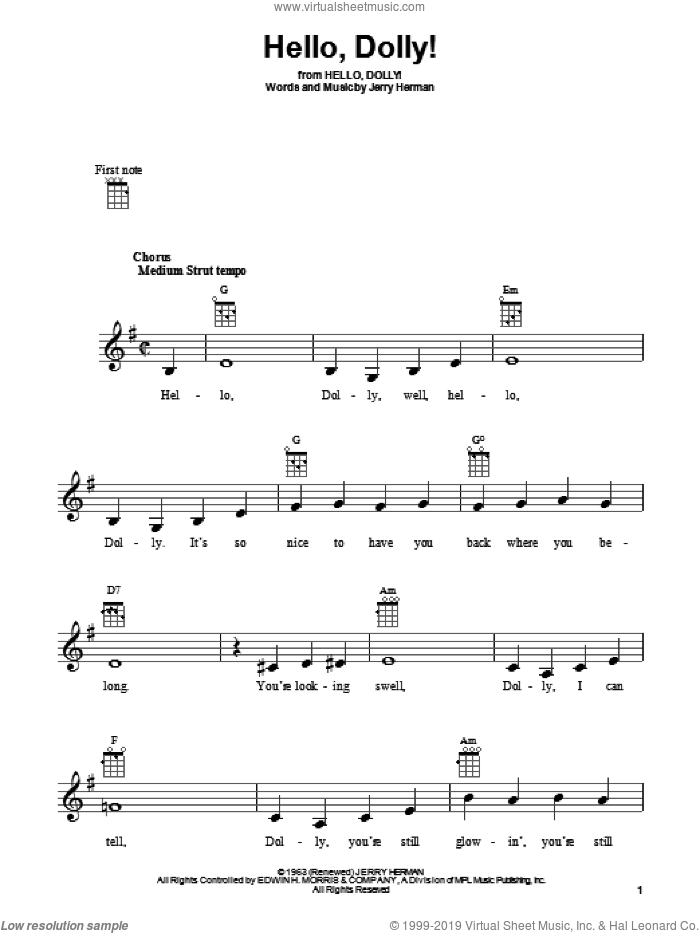 Hello, Dolly! sheet music for ukulele by Louis Armstrong, Hello, Dolly! (Musical) and Jerry Herman, intermediate skill level