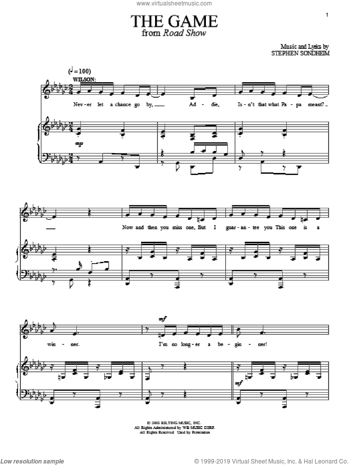 The Game sheet music for voice and piano by Stephen Sondheim and Road Show (Musical), intermediate skill level