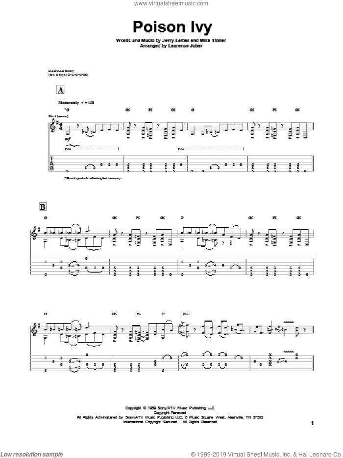 Poison Ivy sheet music for guitar solo by Leiber & Stoller, The Coasters, Jerry Leiber and Mike Stoller, intermediate. Score Image Preview.