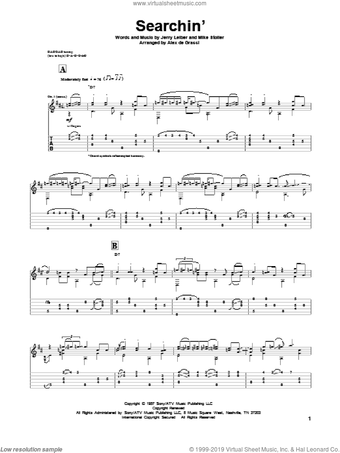 Searchin' sheet music for guitar solo by Mike Stoller