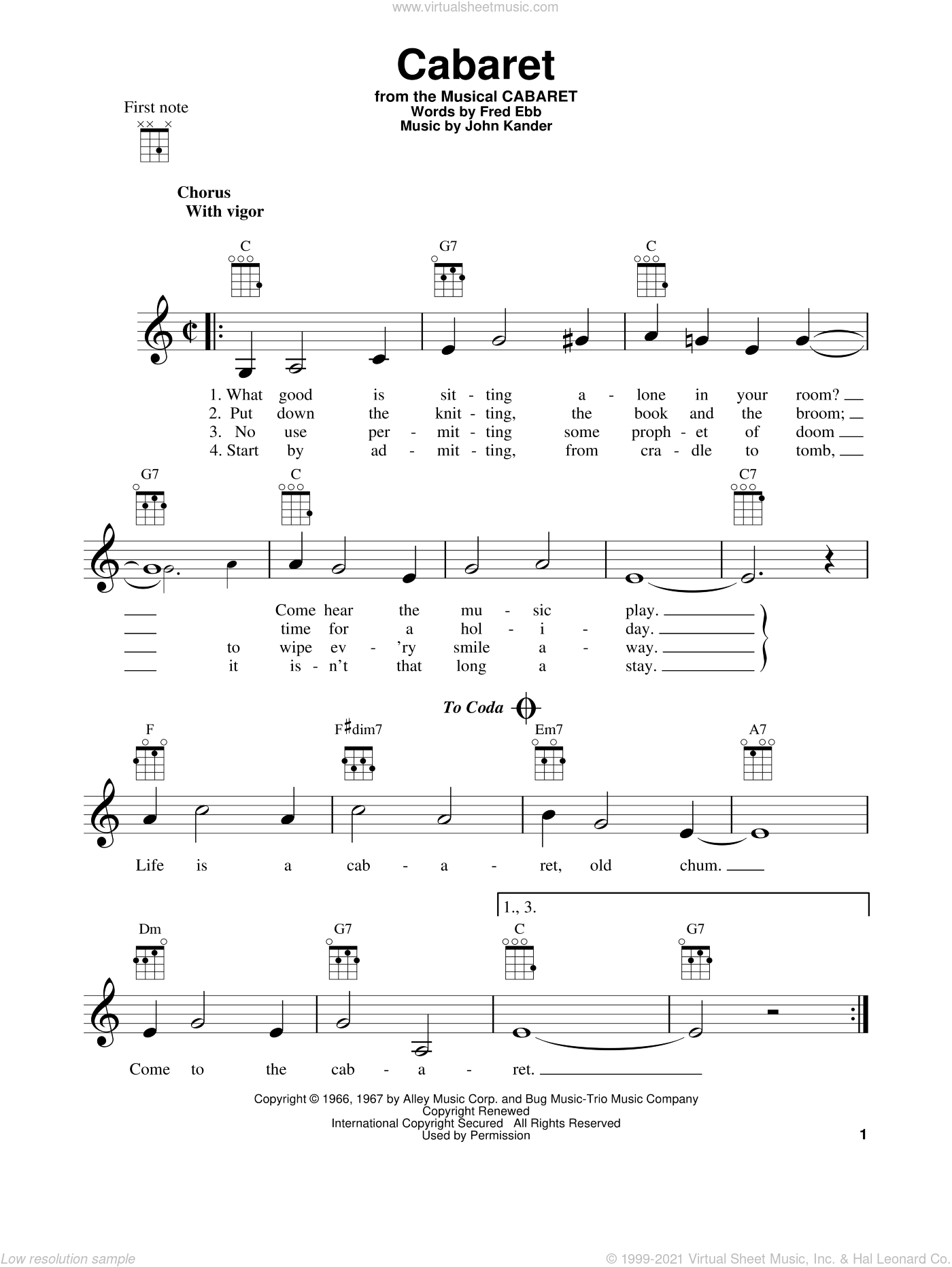 Cabaret sheet music for ukulele by John Kander