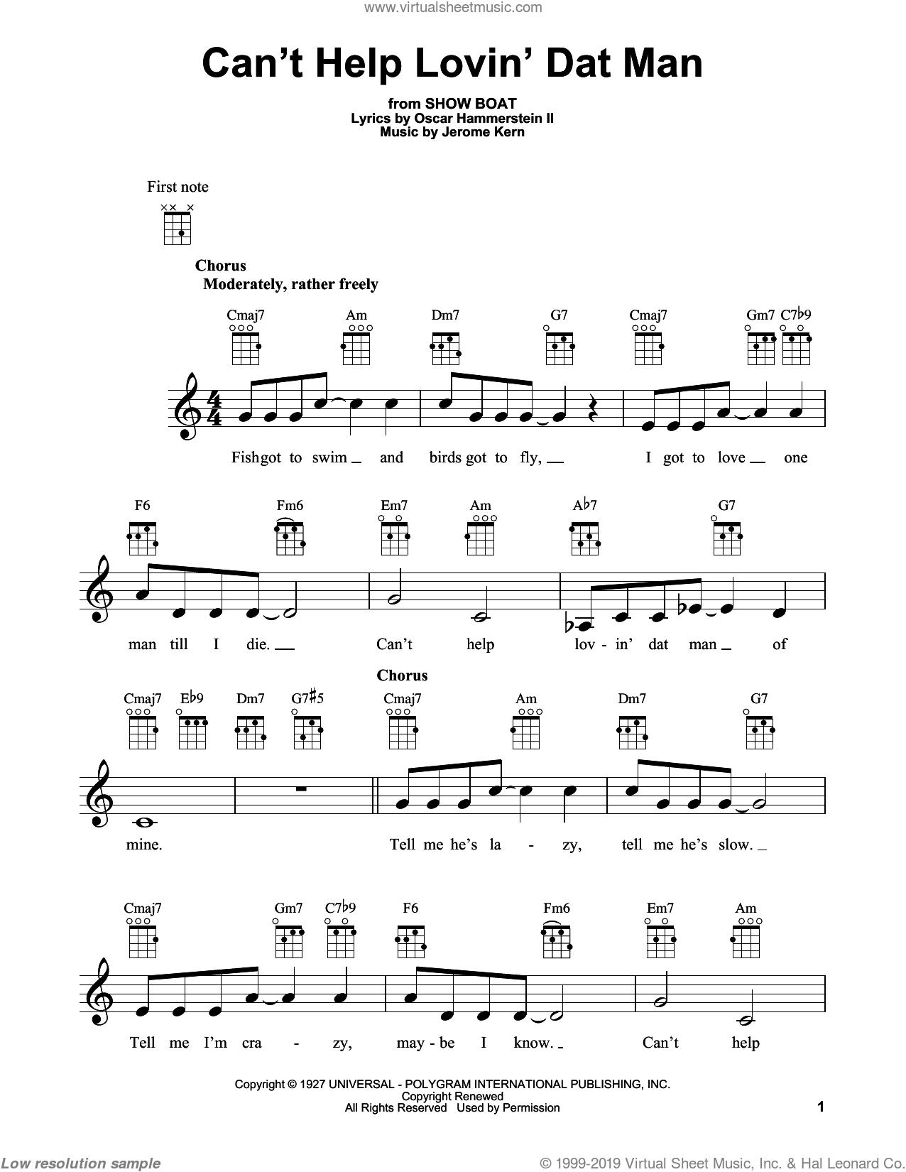 Can't Help Lovin' Dat Man sheet music for ukulele by Jerome Kern, Show Boat (Musical) and Oscar II Hammerstein, intermediate skill level