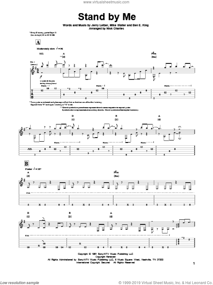 Stand By Me sheet music for guitar solo by Leiber & Stoller, Ben E. King, Jerry Leiber and Mike Stoller, intermediate skill level