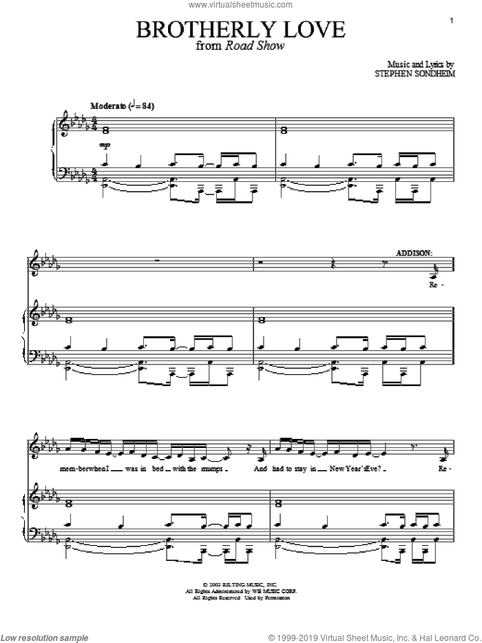 Brotherly Love sheet music for voice and piano by Stephen Sondheim, intermediate voice. Score Image Preview.